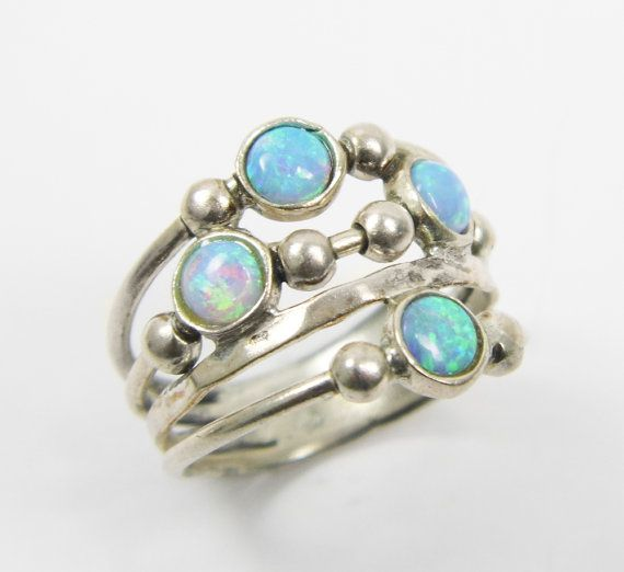 Valentines Opal Ring Spheres Sterling Silver Birthday Gift Christmas