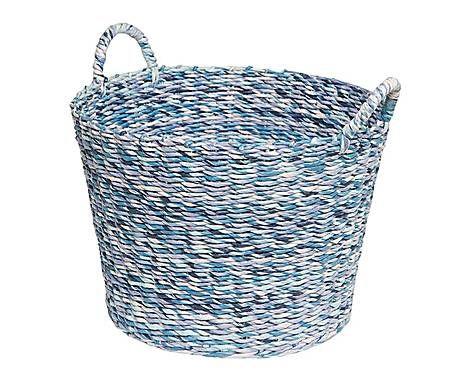 Cesta con manici in corda azzurra Daisy - d 34 cm