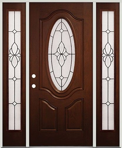 Amazing 3/4 Oval Pre Finished Mahogany Fiberglass Prehung Door Unit With Sidelites  #16. Prehung DoorsTexas StarEntry ...