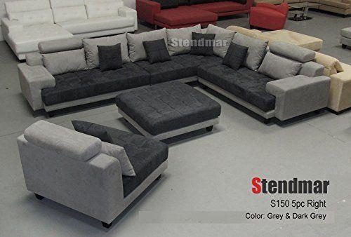 Admirable 5Pc New Modern Gray Microfiber Big Sectional Sofa Set S150Rg Cjindustries Chair Design For Home Cjindustriesco