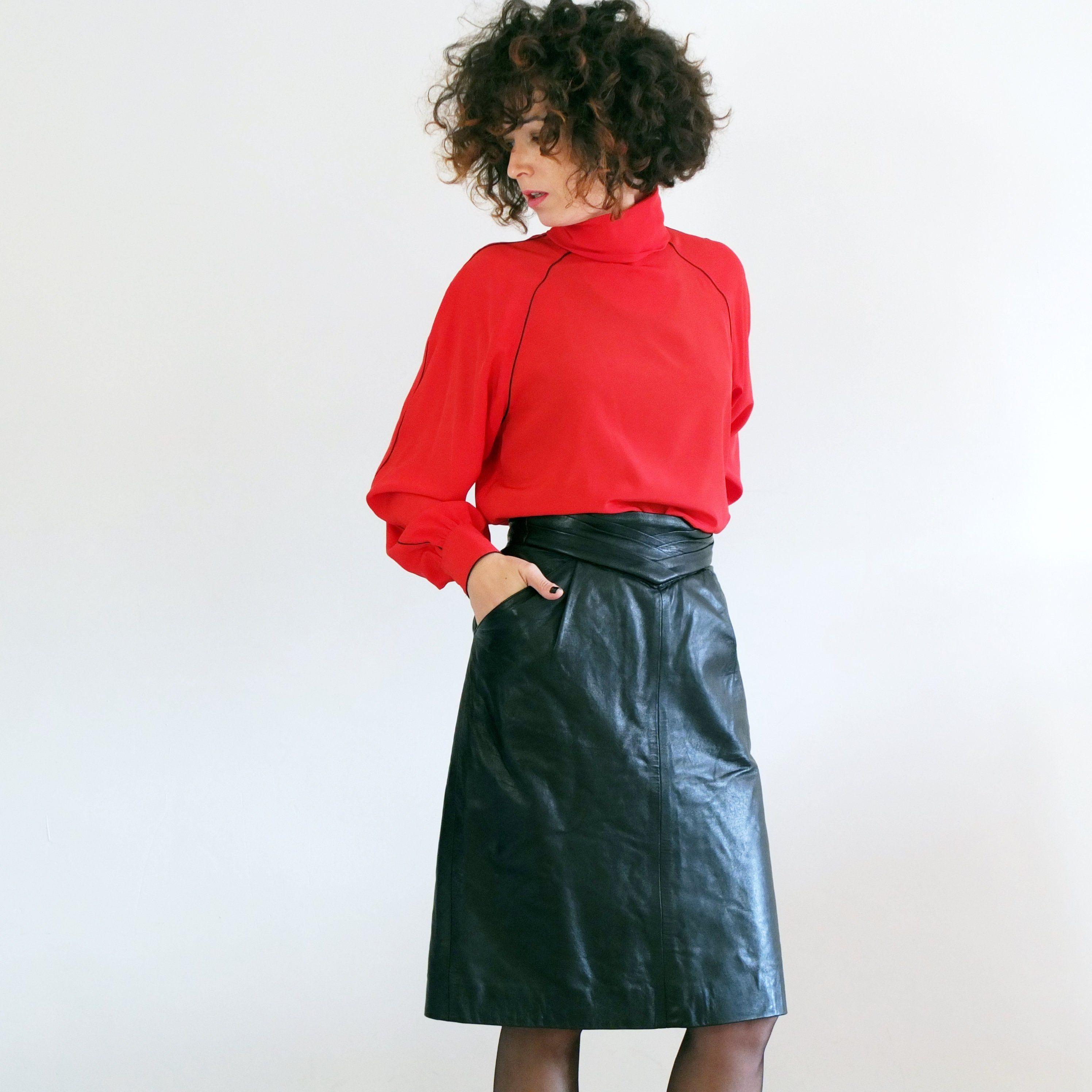 a0d5dc1a77 Vintage 80s high waisted leather skirt, black wiggle leather skirt, knee  length leather skirt