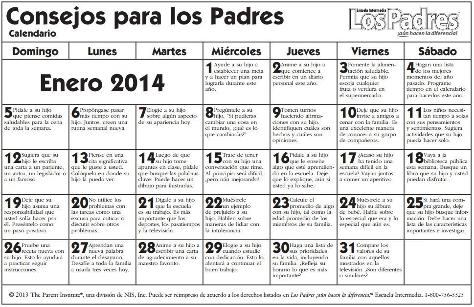 Calendario para padres - Parent Pointers Calendar - Escuela intermedia - ENERO 2014