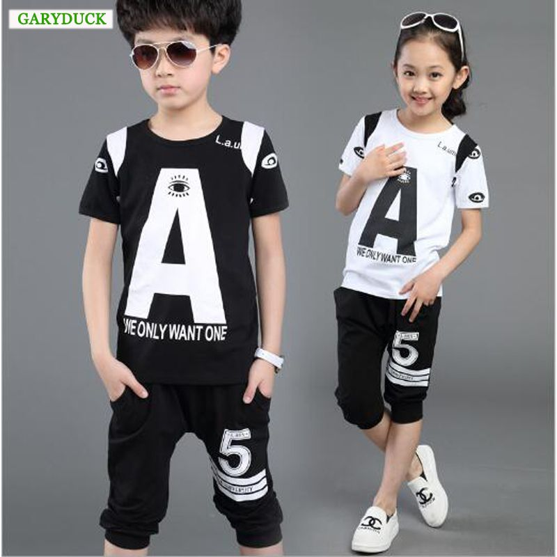 b9f315742a35 Leisure Baby Boys Girls Wear Children Clothing Set Kids Clothes Letter  Print Short-sleeve T