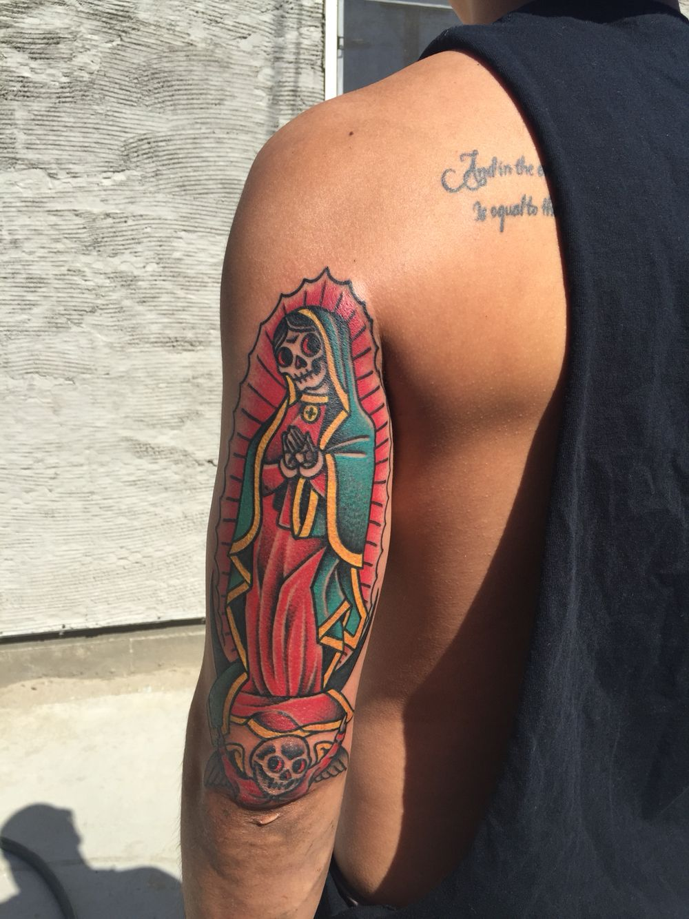 e0d6184b071f4 Virgin Mary traditional dia de la muerta twist. Find this Pin and more on Tattoo  board ...