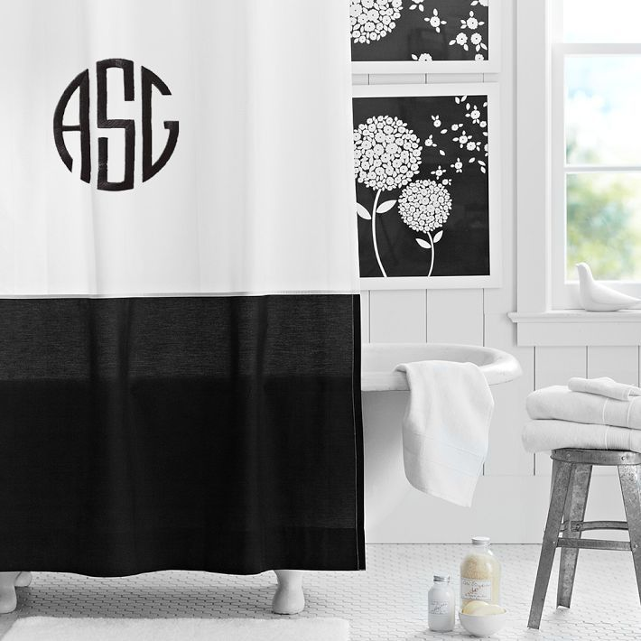 Black And White Monogrammed Shower Curtain