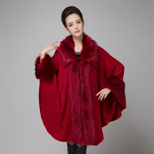 2017 New Elegant Large Fur Coat Faux Fox fur Cloak Cape Relaxed Knitted Shawl Long Cardigan