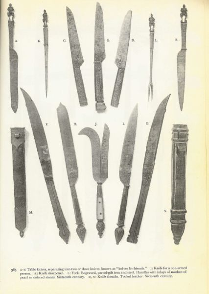 Pricker Fork And Eating Knives C 16th Century Knife Medieval