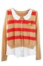 Khaki Long Sleeve Striped Car Embellished Cardigan Sweater $41.52 #SheInside