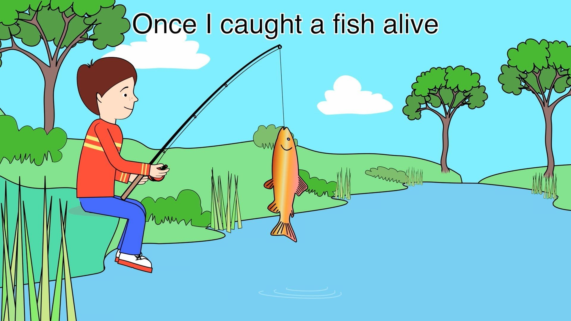 Nursery Rhyme 1 2 3 4 5 Once I Caught A Fish Alive Nursery Rhymes Rhyming Preschool Fishing Nursery