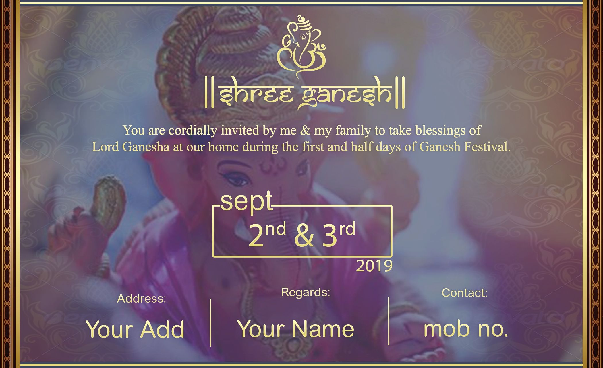 Make Online Ganesh Chaturthi Invitation Card Only Rs 149