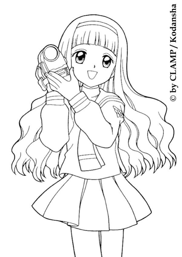 Lovely Tomoyo Daidouji With A Camera Coloring Page More Sakura Coloring Sheets On Hellokids Co Cartoon Coloring Pages Chibi Coloring Pages Cute Coloring Pages