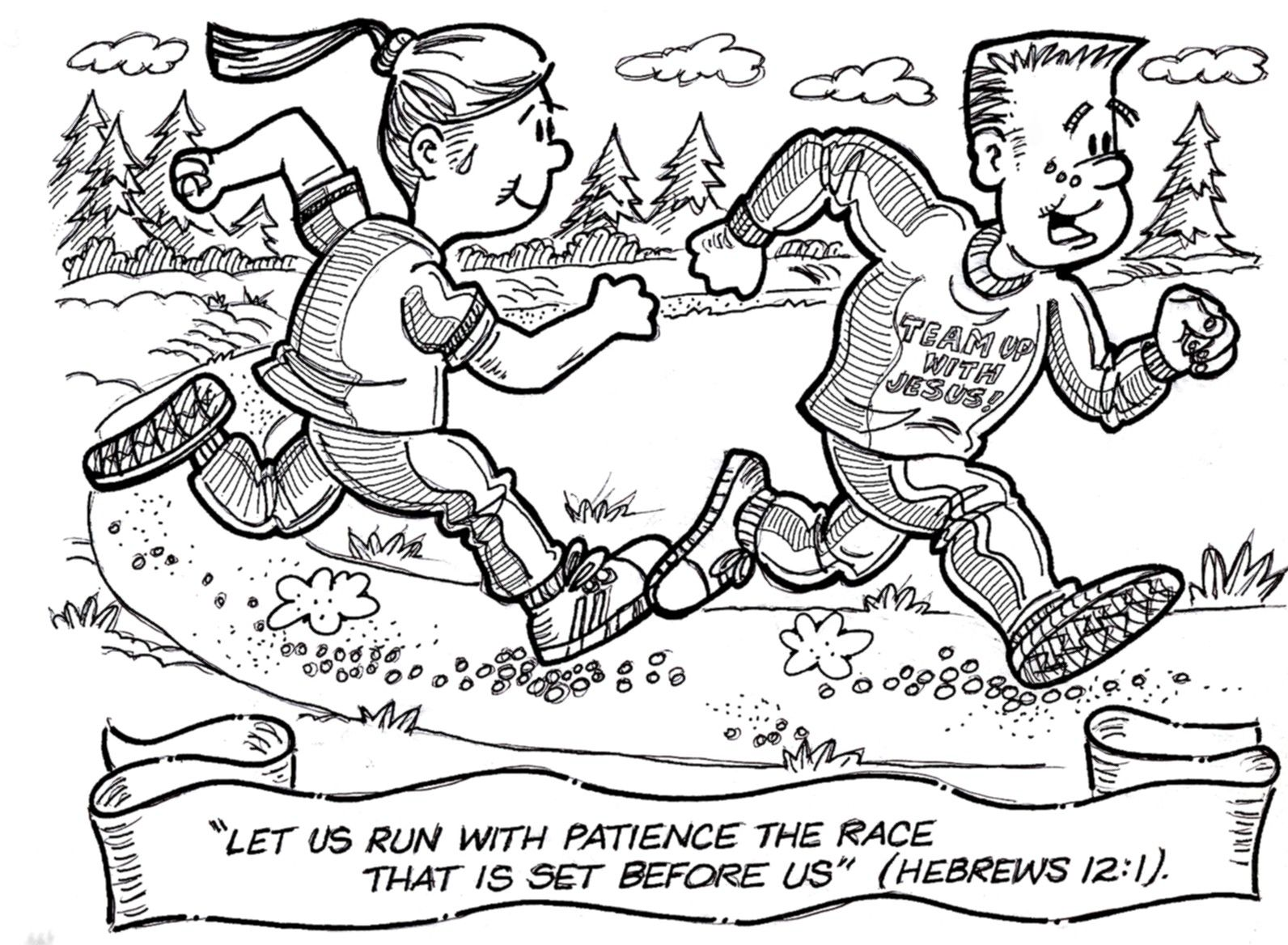 Free Coloring Pages Of Running The Race Color Vbs Crafts