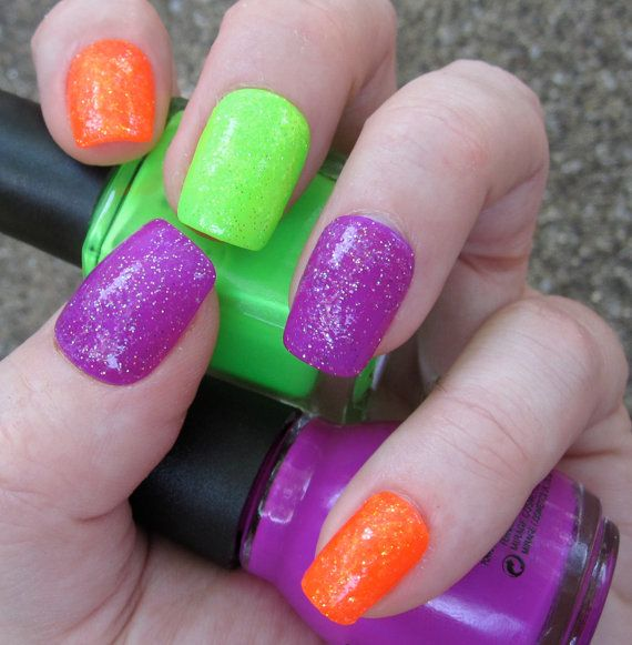 Neon Glitter Bomb Nail Art Set of Artificial Nails  by EmineeGoods, $14.00