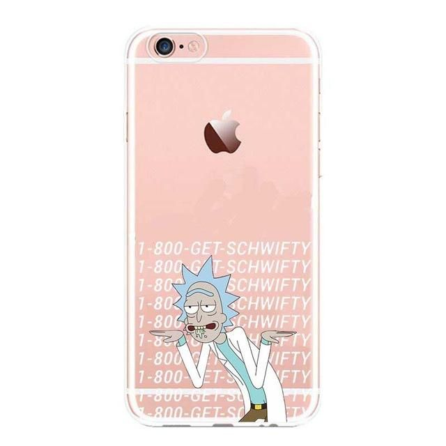super popular da075 dccd7 rick and morty Clear Cell Phone Case Cover For Apple iPhone 6 6S 5 ...