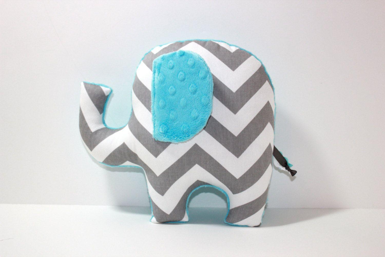 Modern Aqua Turquoise Nursery Decor Chevron Elephant Pillow Plush Baby Shower Gift Gender Neutral