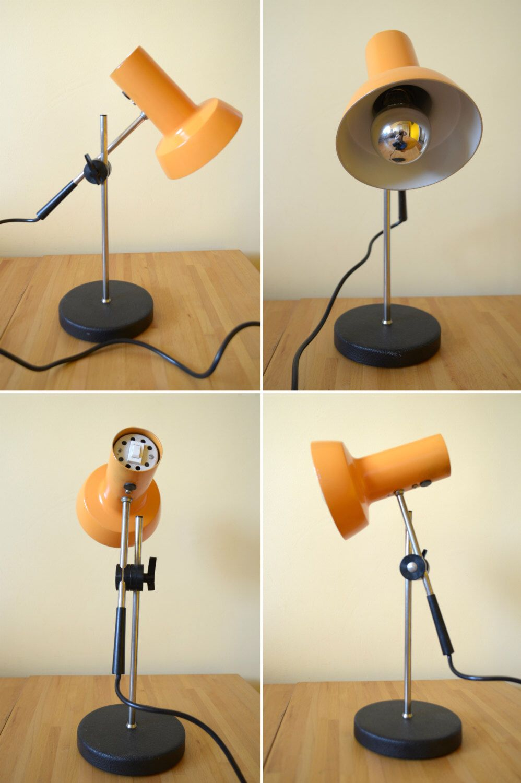 Vintage Orange Desk Lamp, Articulated Table Lamp, Mid Century Modern Desk  Lamp, Adjustable Tilt Table Top Electric Lamp, Retro Orange - Vintage Orange Desk Lamp, Articulated Table Lamp, Mid Century