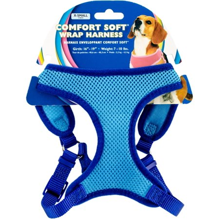 Comfort Soft Wrap Adjustable Dog Harness Xsmall Blue Girth Size