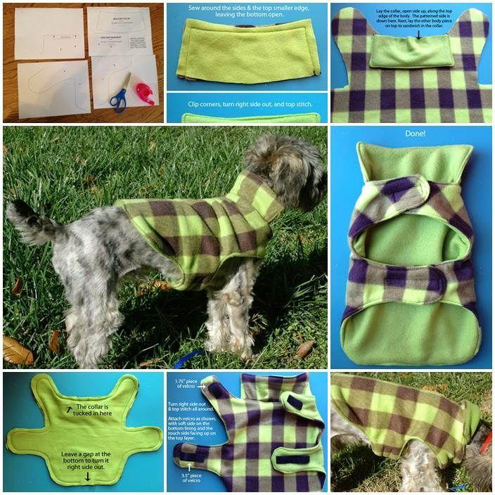 Fleece dog coat instructions with collar   Yorkies   Pinterest ...