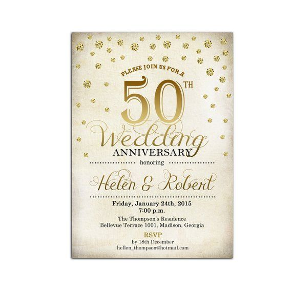 80th Wedding Anniversary Gift: 50th Wedding Anniversary Invitation / Gold / White / Retro