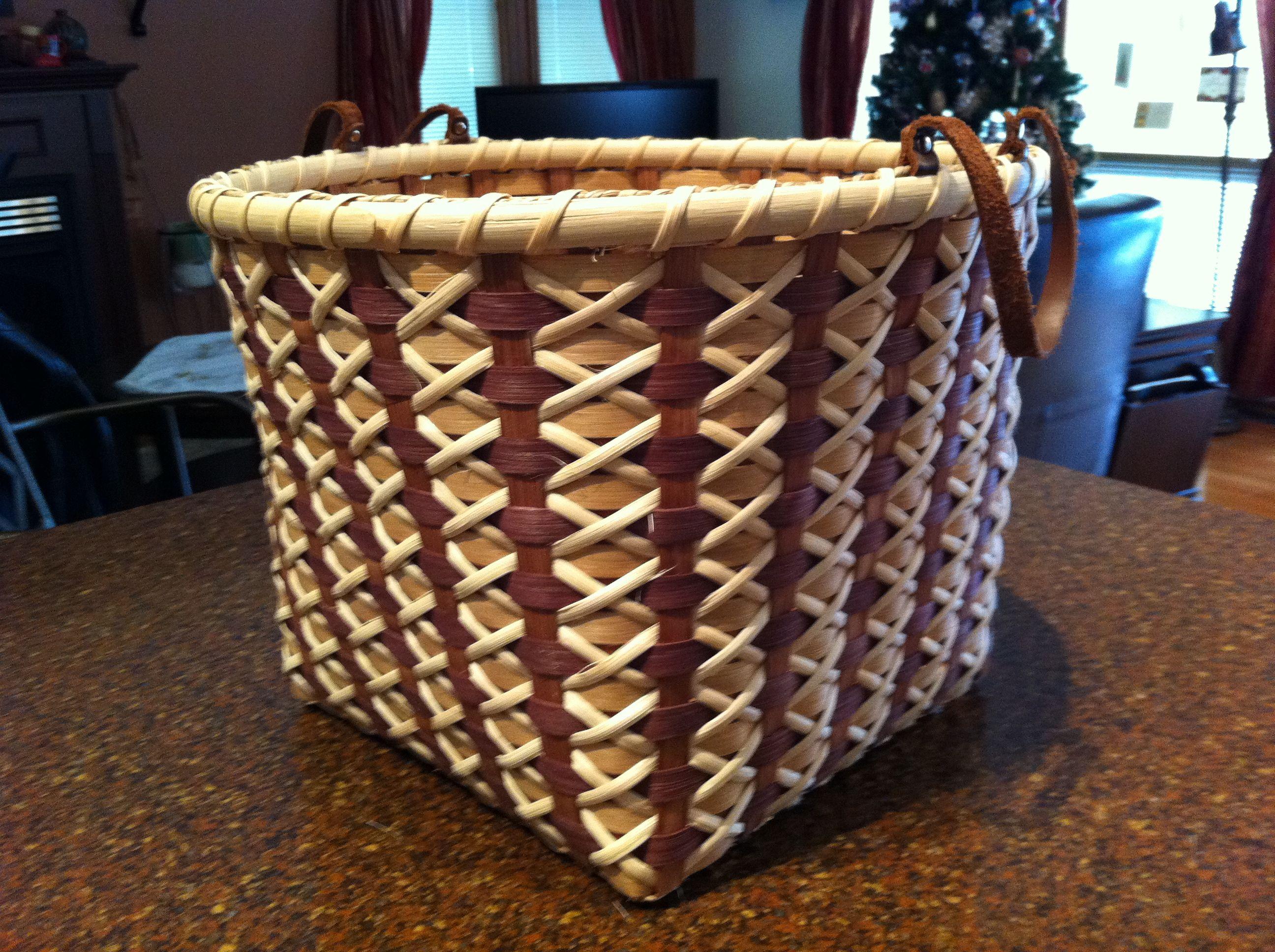 Basket Weaving Handles : Cross stitch bushel basket with leather handles