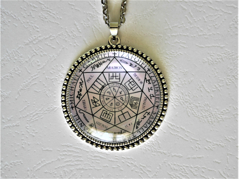 Sacred Geometry Photo Cabochon Verre Noir Chaîne Collier Pendentif