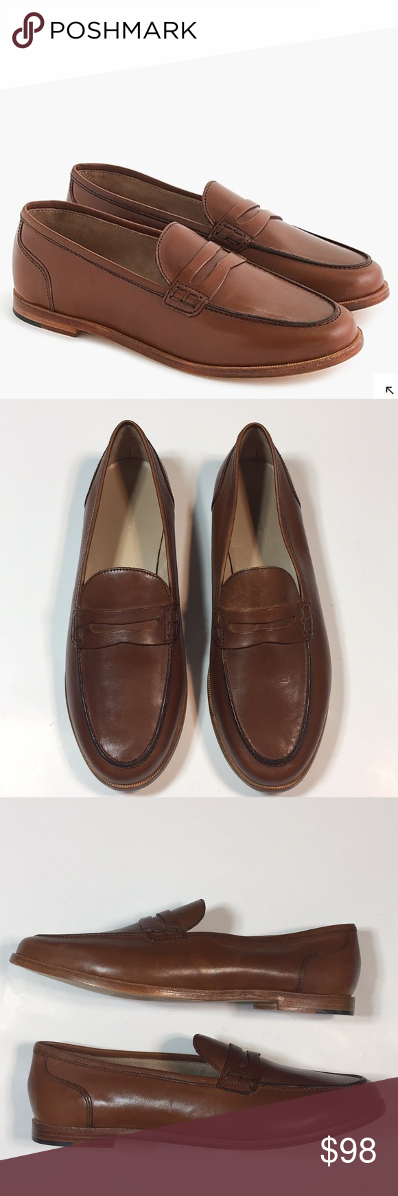 dd5654aad08 J. Crew Ryan penny loafers in Leather J. Crew Ryan penny loafers in Leather  Color  Burnished Pecan Condition  Like New J. Crew Shoes Flats   Loafers