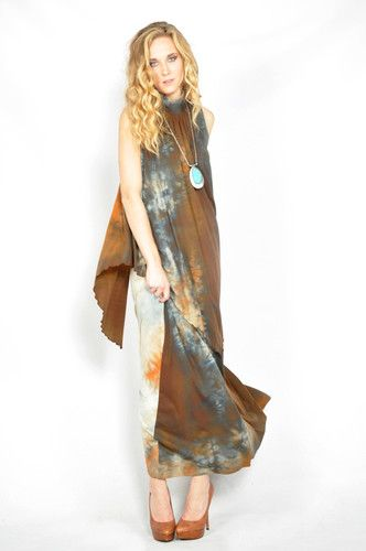 Vtg 70s Cosmic Tye Dye Neiman Marcus Cape Boho Hippie Maxi Party Dress XS S | eBay
