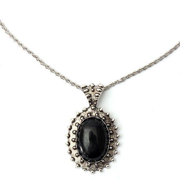 tuscompras - Tallados de época óvalo negro grande de las mujeres collar colgante de cadena de joyería joya ID( 954723)