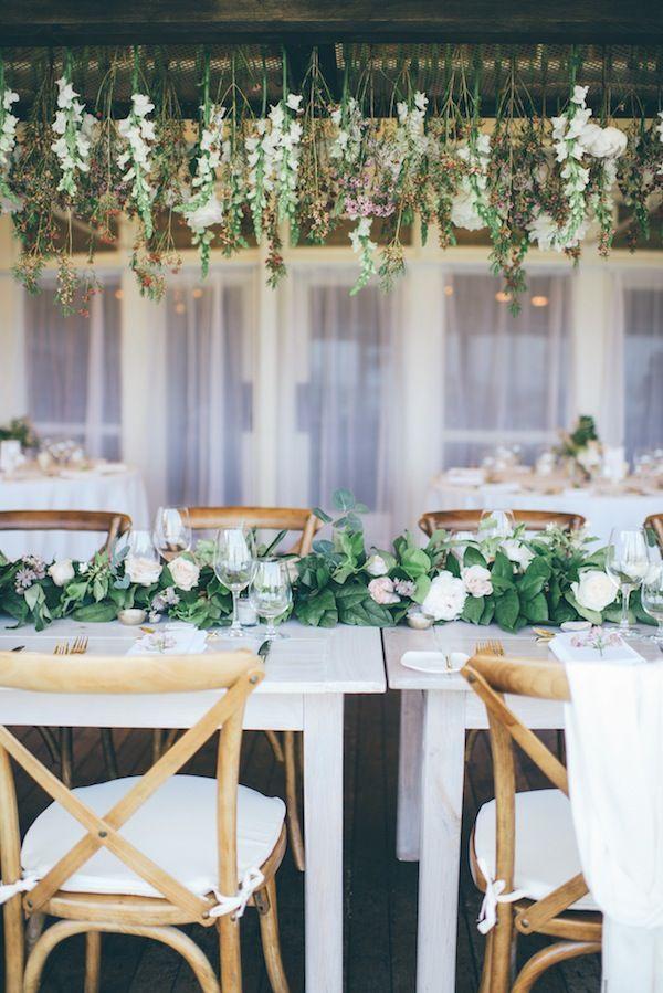 White Elephant Nantucket Coastal Beach New England Wedding Reception Head Table Hanging Flowers Fl Install Lauren Wells Laurenswells Lwells
