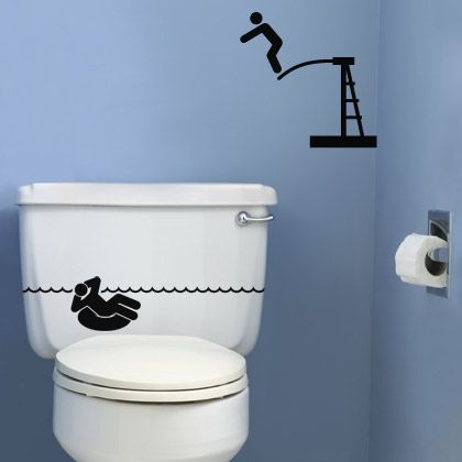 sticker wc piscine wc deco pinterest toilettes vinyles et salle de bains. Black Bedroom Furniture Sets. Home Design Ideas