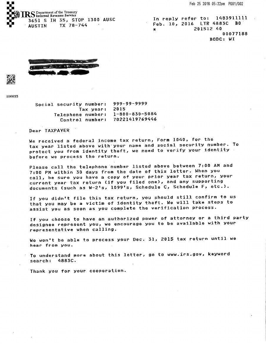 Fake Irs Letter