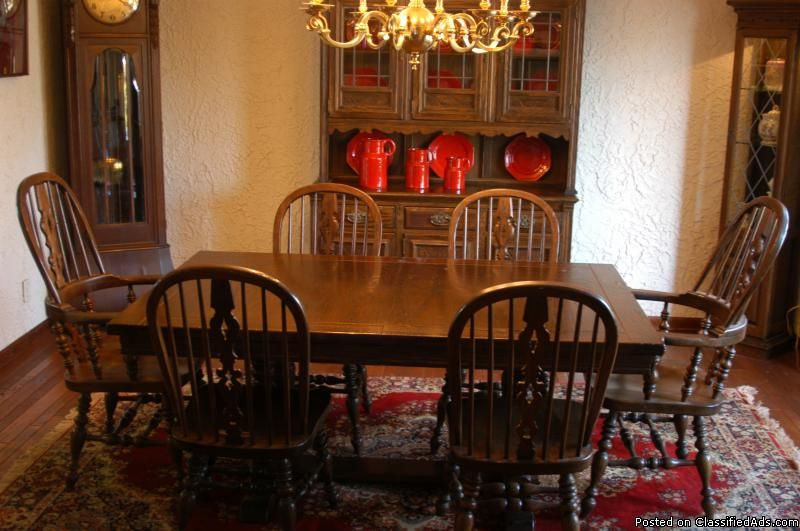 Room · Ethan Allen Royal Charter Oak Dining Set.