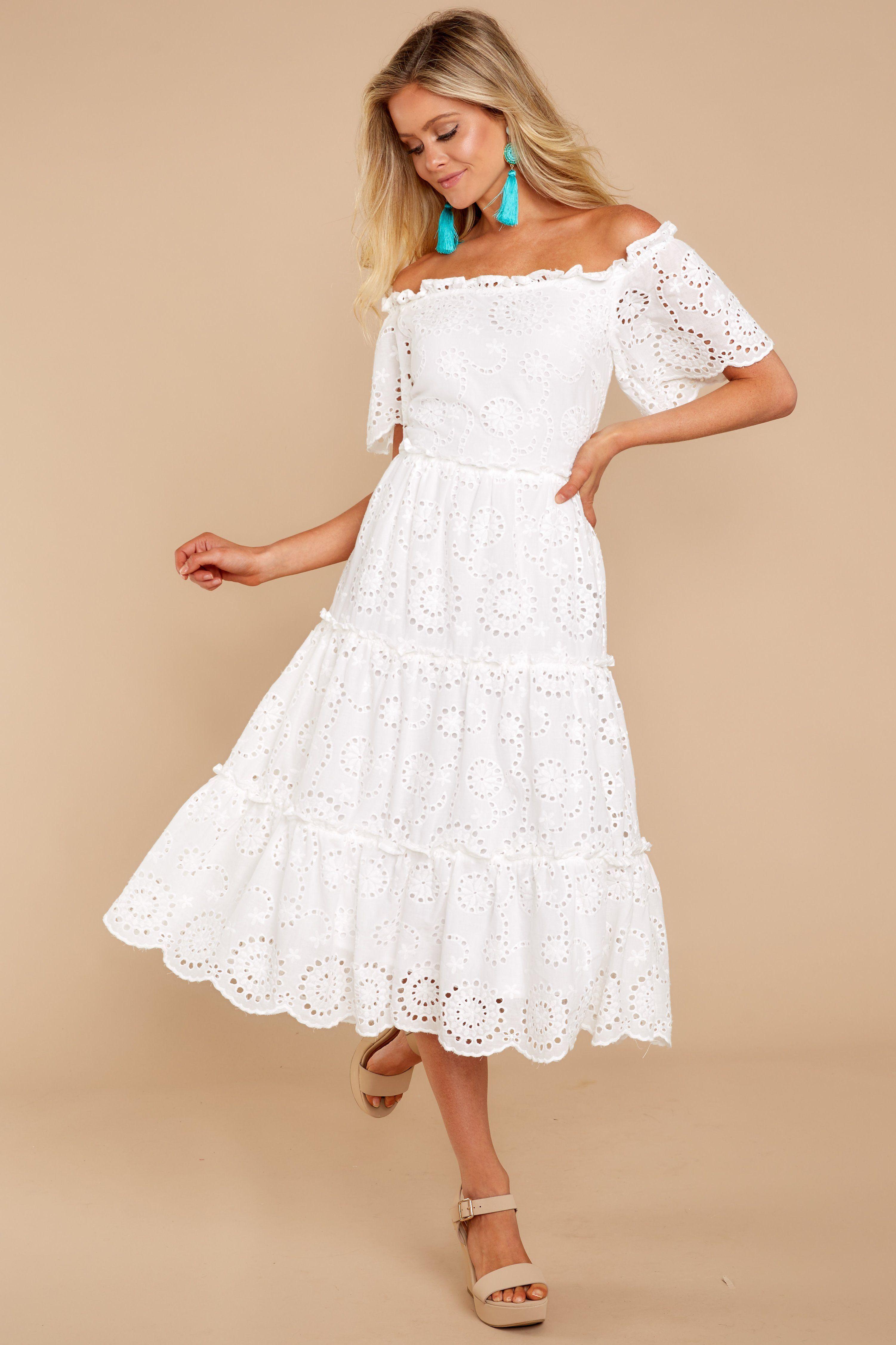 9f70fba91a8f Chic White Eyelet Dress - Trendy Eyelet Dress - Dress - $64.00 – Red Dress  Boutique