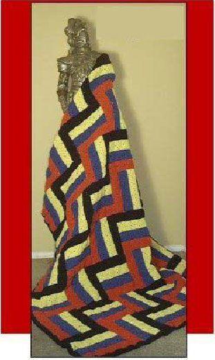 RAIL FENCE Christmas afghan pattern Crochet Patterns