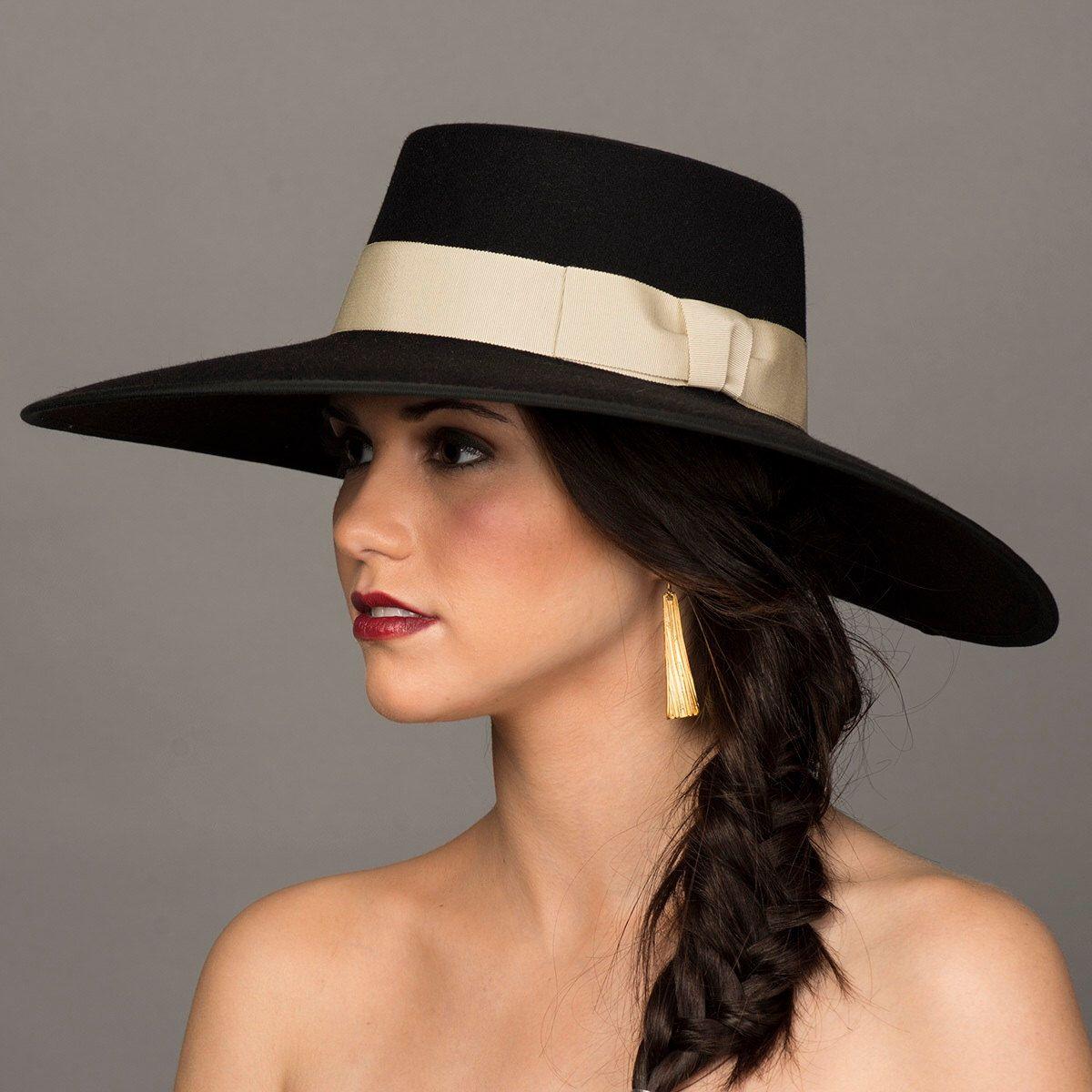 Reserved Gaucho Hat 5 Wide Brim Black Hat Bolero Etsy Women Hats Fashion Fashion Cap Hats For Women