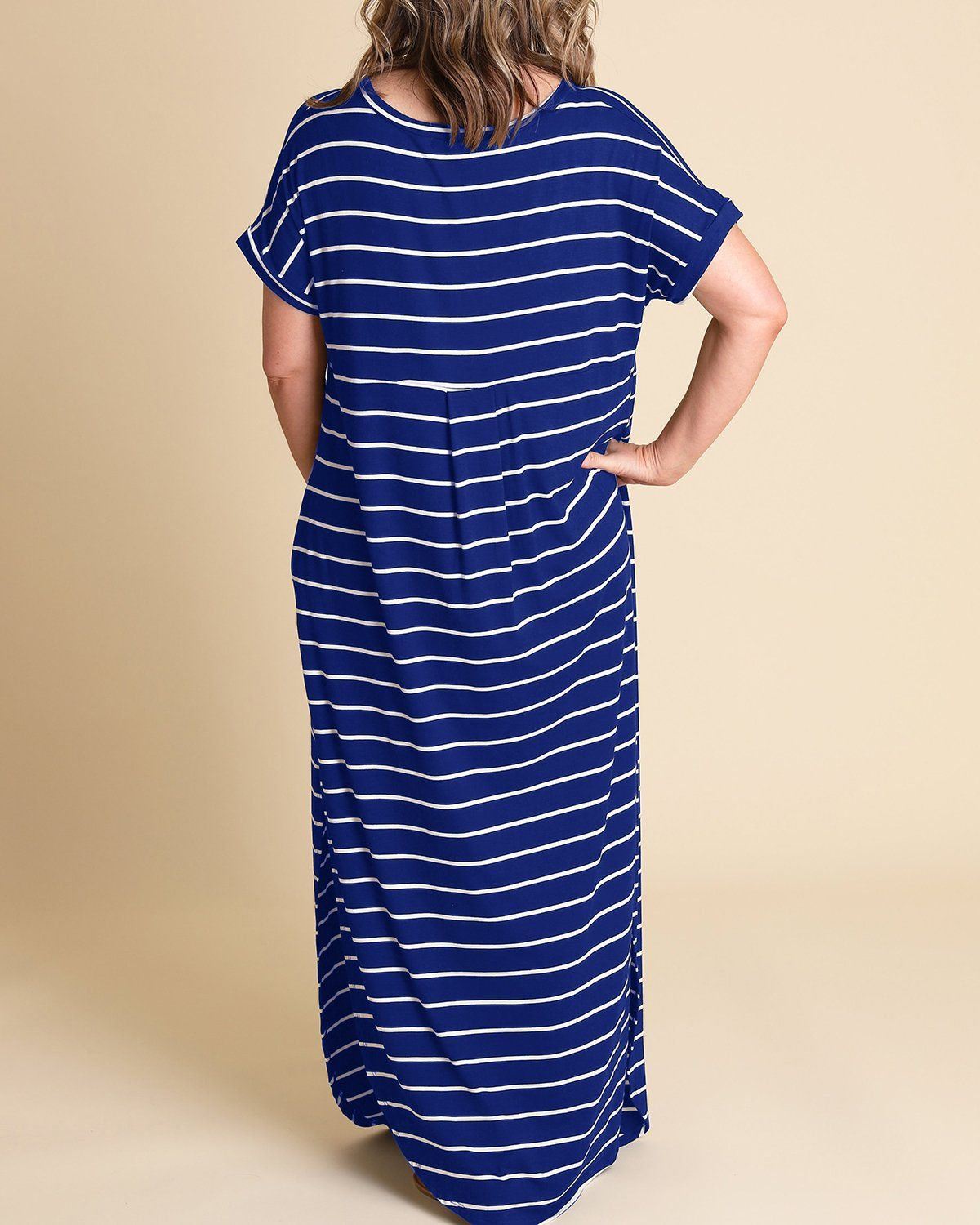 00a04c6519a Women Maternity Clothes - Rotita Women Striped Maxi Dress Plus Size Short  Sleeve Loose V Neck Maxi Dresses with Pockets XLarge Blue    More details  could be ...