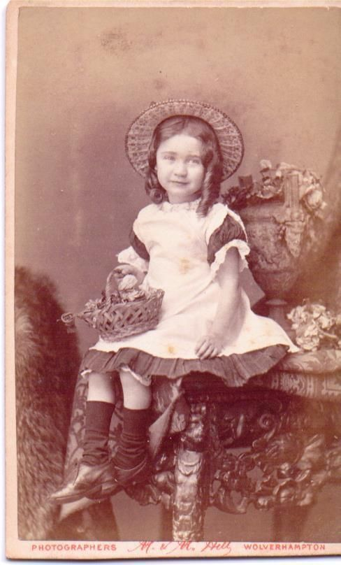 Victorian cdv photo Children girl hat holding posy Wolverhampton photographer