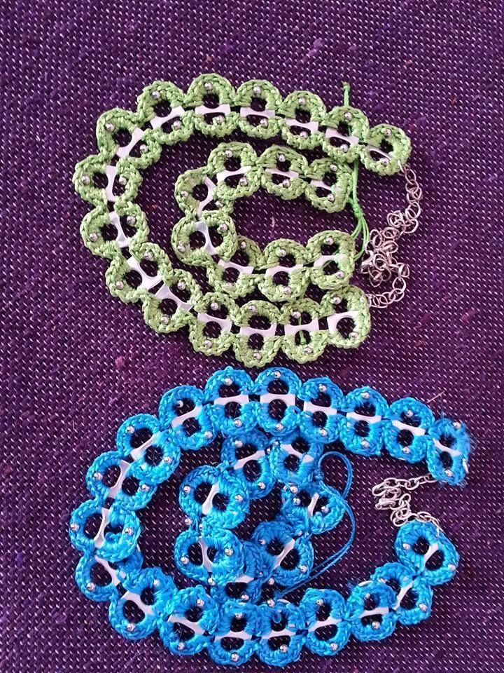 Collar y pulseras realizadas con las chapitas de las latas