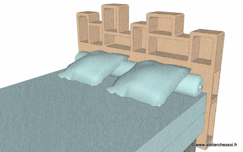 Patron de meuble en carton t te de lit 2 personnes mod le haustin atelier che - Tete de lit rangement 140 ...
