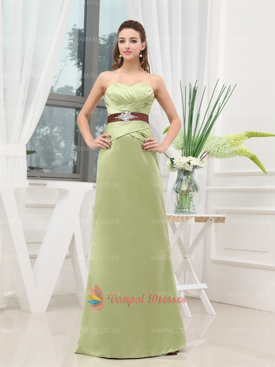 135.00$  Buy here - http://vihek.justgood.pw/vig/item.php?t=dyhyapm28455 - Green Strapless Beaded Pleated Long Prom Dresses With Sashes