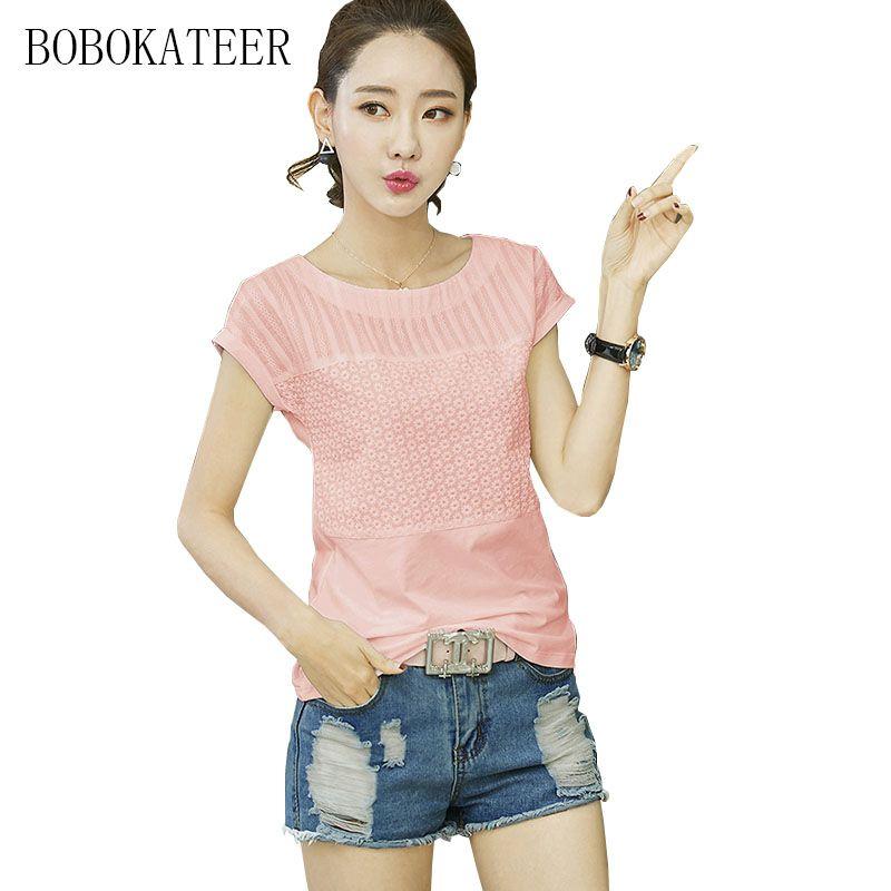 0a13623ecf BOBOKATEER casual women blouses O-neck summer tops white short sleeve 3XL  plus size embroidery blouse blusas feminina ver o 2017