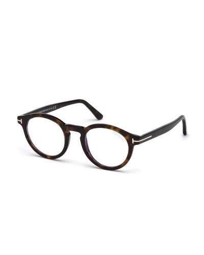 353a51af60dc7 Tom Ford Men s Blue Light-Blocking Round Acetate Optical Glasses ...