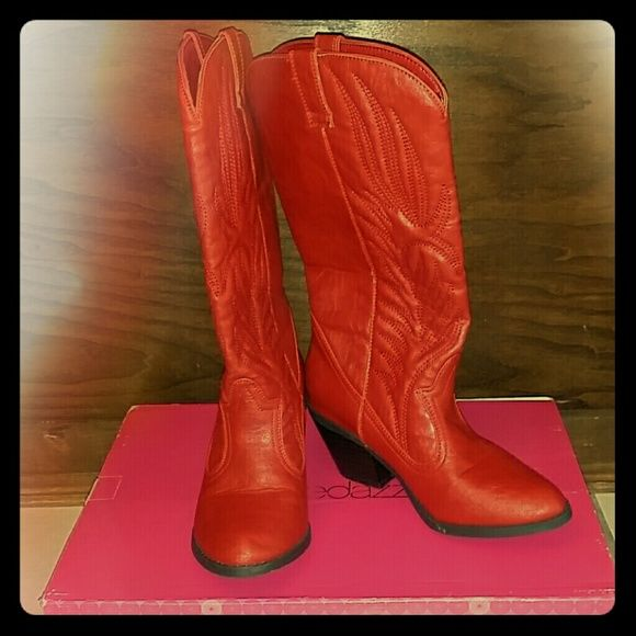 Red Shoedazzle Boots Red Shoedazzle western styled boots.  Only worn a few times. Shoe Dazzle Shoes Heeled Boots