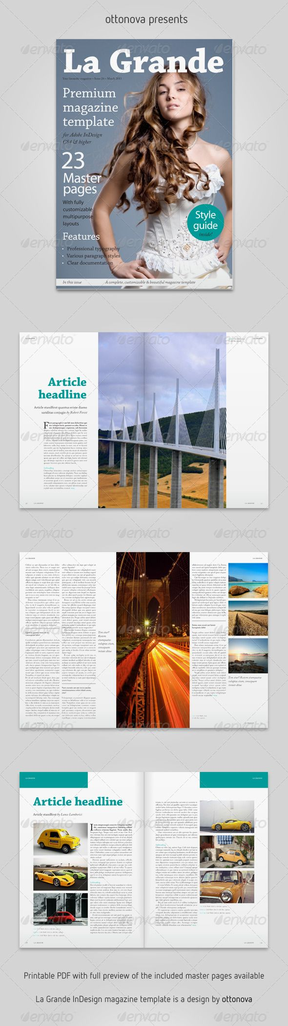 La Grande InDesign magazine template | Indesign magazine templates ...