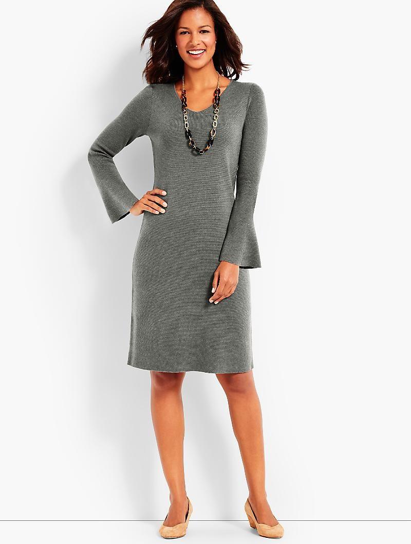 2c5e5c92f52 Flounce-Sleeve Sweater Dress