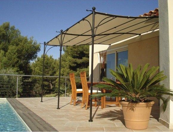 Tonnelle Adossee Provence 3x4m Toile Couleurs Du Monde Pergola Pergola Fer Amenagement Jardin