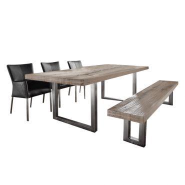 Essgruppe Canaris (5-teilig) - Balkeneiche/Echtleder - Esstisch, Bank & 3 Stühle. Schön teuer: 2,289,99 Euro