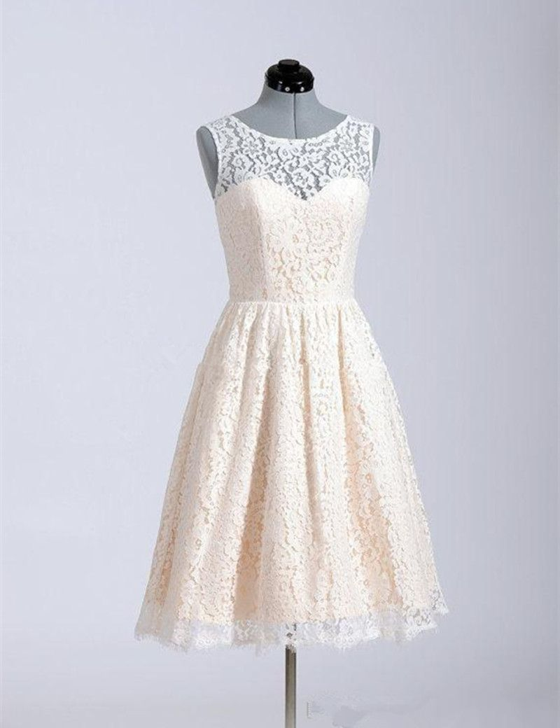 Short champagne wedding dresses  Hot Sale Cheap Short Champagne Lace Bridesmaid Dress Sleeveless O