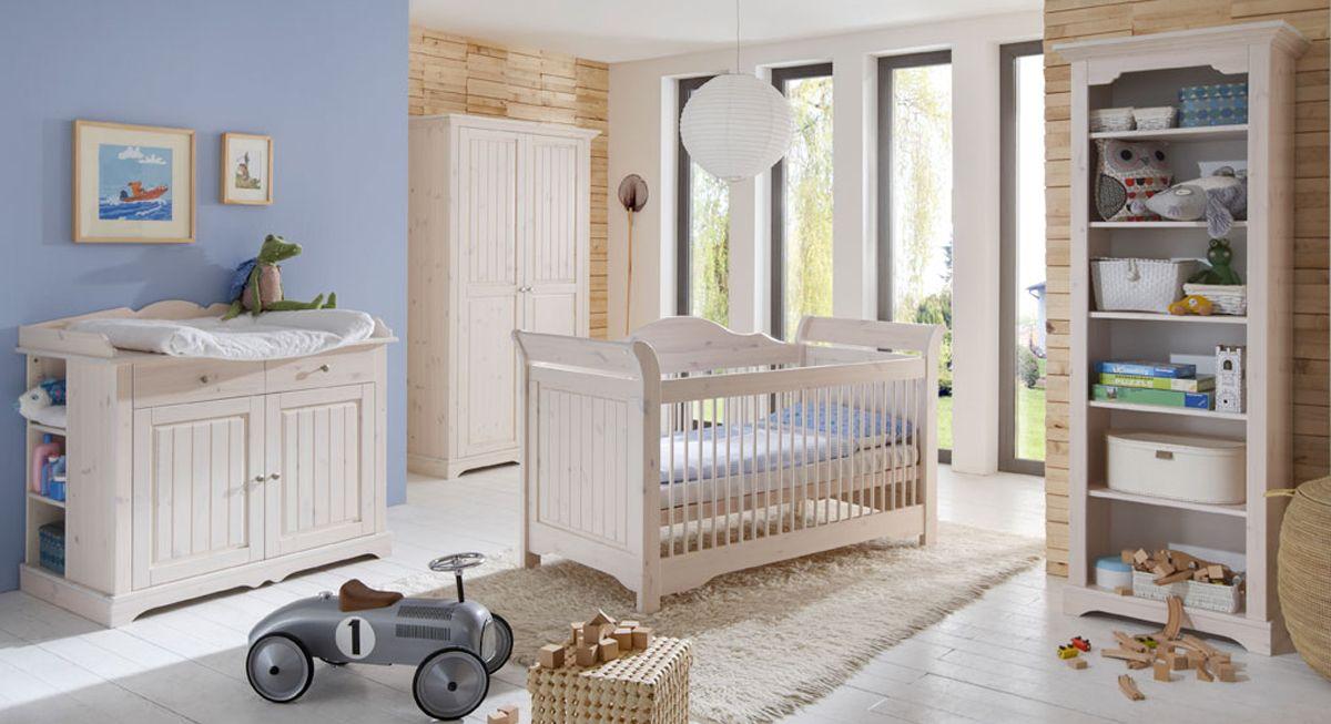Kinderzimmer Kiefer massiv, weiss, Modell Lotta Babyzimmer