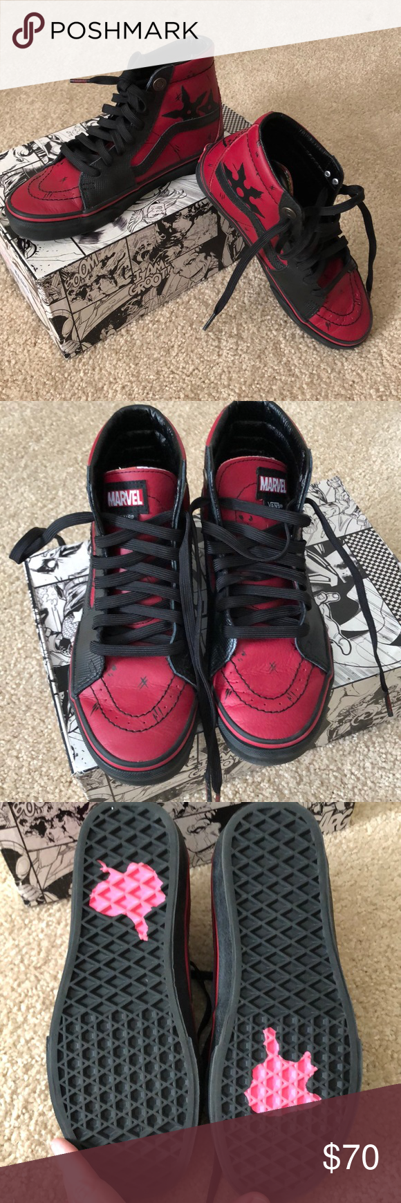 Vans Marvel Deadpool SK8-Hi size 5.5 7 women s These were worn just a few  times by my son and now they don t fit 34a4b9f2c